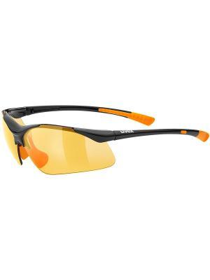 Солнцезащитные очки Uvex. Цвет: черный, оранжевый