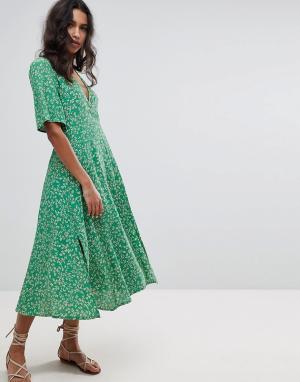 Faithful the Brand Платье миди с цветочным принтом Faithfull. Цвет: зеленый