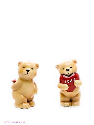 Набор cоль-перец Влюбленные мишки Pavone. Цвет: светло-коричневый, красный