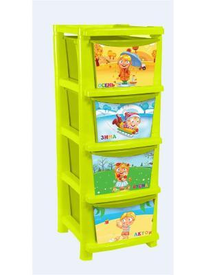 Детский комод для детской комнаты Времена года 335мм Little Angel. Цвет: салатовый