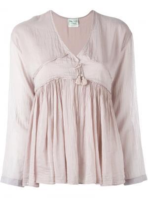 Присборенная блузка с кисточками Forte. Цвет: розовый и фиолетовый