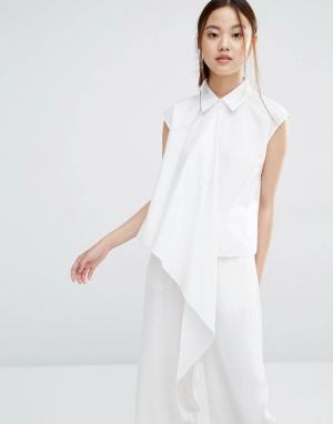 Zacro Асимметричная рубашка без рукавов. Цвет: белый