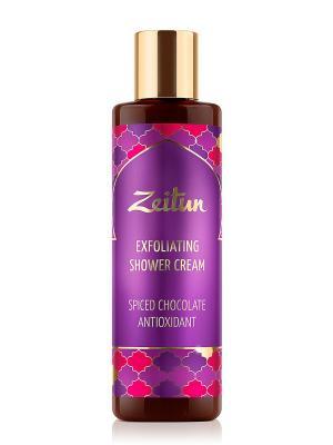 Антиоксидантный гель-скраб для душа Пряный шоколад со скорлупой орехов пинии Зейтун. Цвет: кремовый