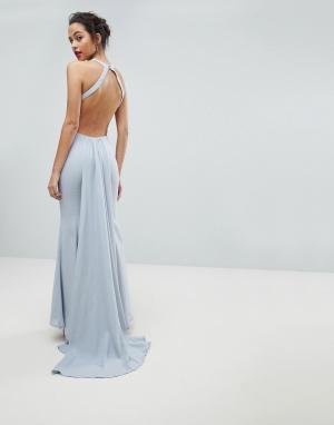 Jarlo Платье макси с открытой спиной. Цвет: серый