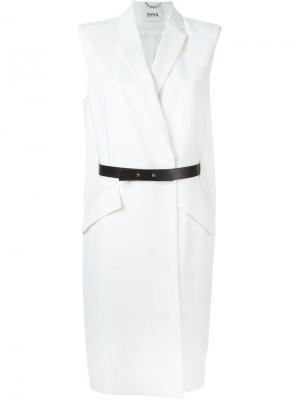Удлиненный жилет Dalton с ремнем Issa. Цвет: белый