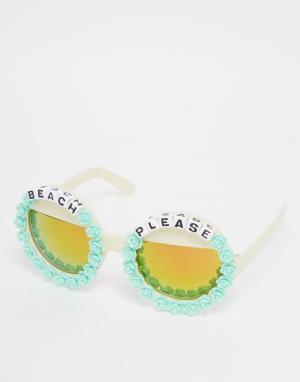 RAD + REFINED Круглые солнцезащитные очки с зеркальными линзами Beach. Цвет: синий