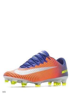 Бутсы MERCURIAL VAPOR XI FG Nike. Цвет: синий, оранжевый