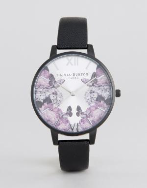 Olivia Burton Часы с кожаным черным ремешком After Dark. Цвет: черный