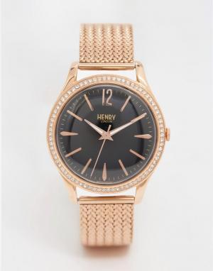 Henry London Золотистые часы с сетчатым ремешком Richmond. Цвет: золотой