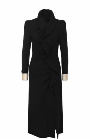 Приталенное шерстяное платье-миди с контрастными манжетами Gucci. Цвет: черный
