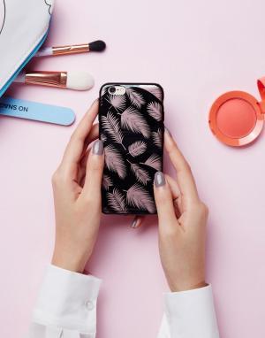 SIGNATURE Розово-золотистый чехол для iPhone 6 с принтом пальмовых листьев Signa. Цвет: золотой