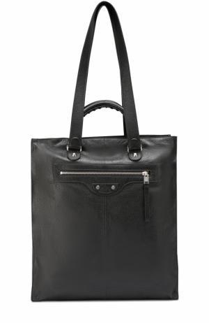 Кожаная сумка-тоут North-South с плечевым ремнем Balenciaga. Цвет: черный