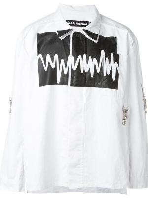 Рубашка с принтом звуковых волн Liam Hodges. Цвет: белый