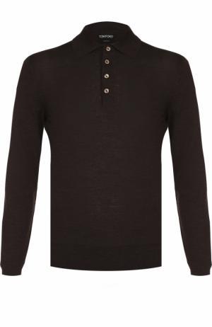 Шерстяное поло с длинными рукавами Tom Ford. Цвет: коричневый