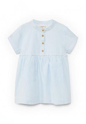 Платье Mango Kids. Цвет: голубой