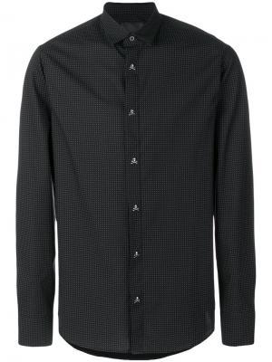 Рубашка с принтом и пуговицами в форме черепов Philipp Plein. Цвет: чёрный