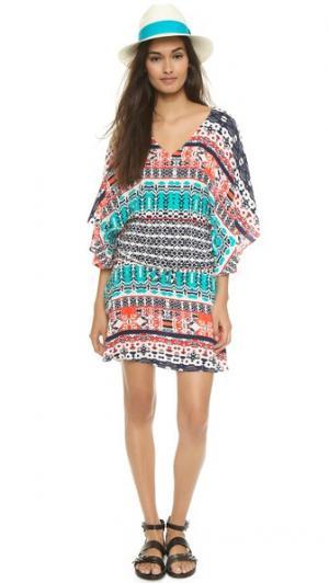 Короткое платье в стиле восточного халата Felicite. Цвет: мульти