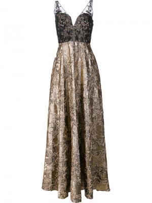 Sheer detailing metallic dress Badgley Mischka. Цвет: none