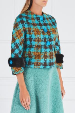Шерстяной жакет с меховыми манжетами Miu. Цвет: голубой