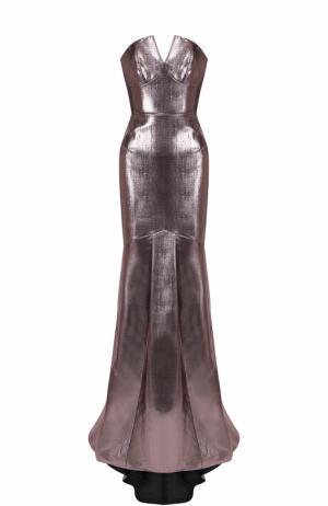 Приталенное платье-бюстье с металлизированной отделкой Roland Mouret. Цвет: розовый