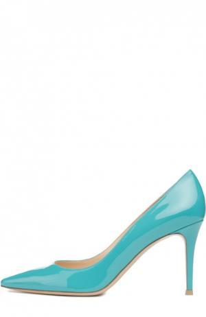 Лаковые туфли Gianvito 85 на шпильке Rossi. Цвет: аквамарин