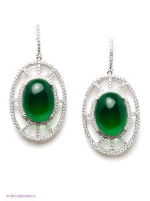 Серьги Art Silver. Цвет: серебристый, зеленый