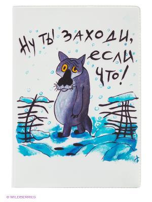 Обложка для паспорта Волк из мультика Mitya Veselkov. Цвет: белый, фиолетовый