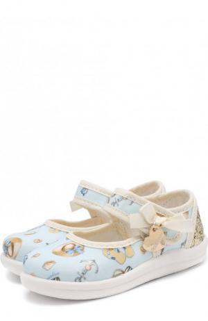 Текстильные туфли с застежками велькро и глиттером Monnalisa. Цвет: голубой