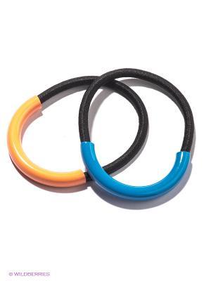 Резинка для волос, 2 шт. Selena. Цвет: синий, оранжевый, черный