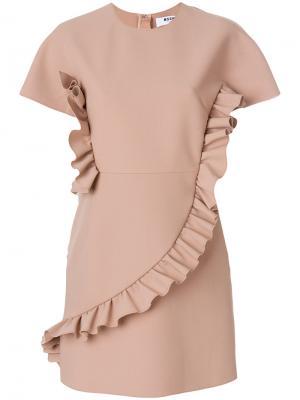 Приталенное платье с рюшами MSGM. Цвет: телесный