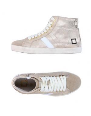 Высокие кеды и кроссовки D.A.T.E. KIDS. Цвет: бежевый