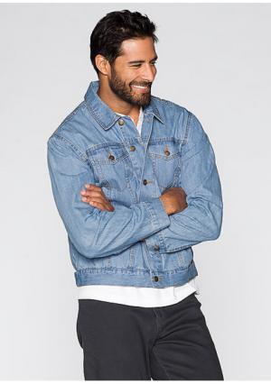 Джинсовая куртка. Цвет: голубой, темно-синий