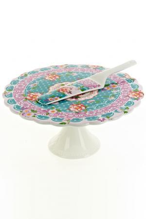 Подставка для торта, 27,5 см Nouvelle. Цвет: белый, голубой, красный
