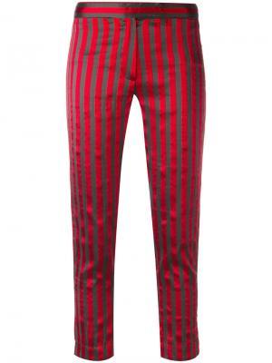 Укороченные брюки в полоску Ann Demeulemeester. Цвет: красный