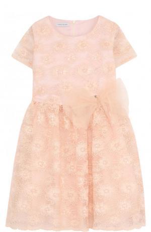 Приталенное платье с пышной юбкой и декоративной вышивкой I Pinco Pallino. Цвет: розовый