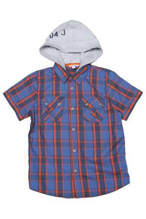 Рубашка с капюшоном Dodipetto. Цвет: синий, серый, оранжевый