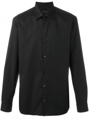 Классическая рубашка Z Zegna. Цвет: чёрный