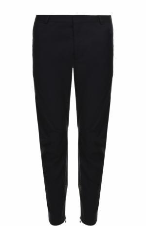 Хлопковые зауженные брюки с молниями Lanvin. Цвет: темно-синий