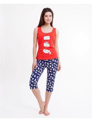 Комплект одежды: майка, капри Mark Formelle. Цвет: синий, белый, красный