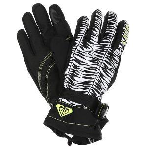 Перчатки женские  Rx Jetty Gloves True Black Savanna Roxy. Цвет: белый,черный