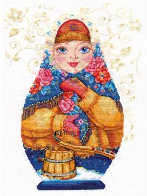 Набор для вышивания Матрешки. Зимняя краса 19х26 см  Алиса. Цвет: белый, синий