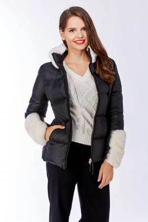 Короткая куртка на пуху с мехом кролика Bos Bison. Цвет: черный