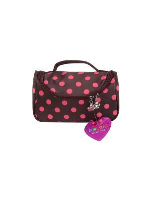 Косметичка - сумочка Коричневая с розовым горошком EL CASA. Цвет: коричневый, розовый
