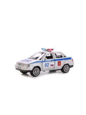 Машина металлическая инерционая Lada 110 Полиция 12см, открываются двери. Технопарк. Цвет: серебристый, синий