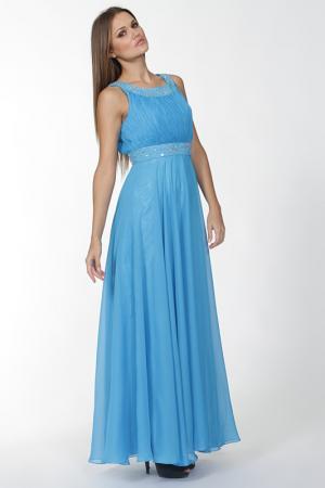 Вечернее платье украшенное стразами Mona Kalin. Цвет: голубой