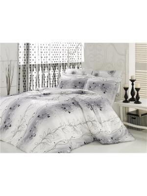 Комплект постельного белья ЕВРО БАМБУК MARIPOSA. Цвет: белый, черный, серый