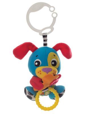Playgro Игрушка-подвеска Щенок. Цвет: красный, желтый, оранжевый, синий