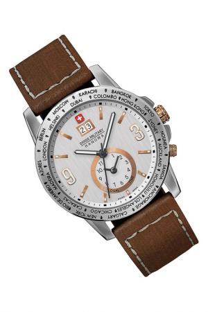 Watch Swiss military. Цвет: silver and brown