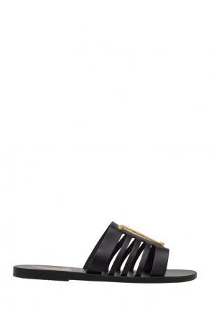Черные сандалии с металлической аппликацией Ancient Greek Sandals. Цвет: черный