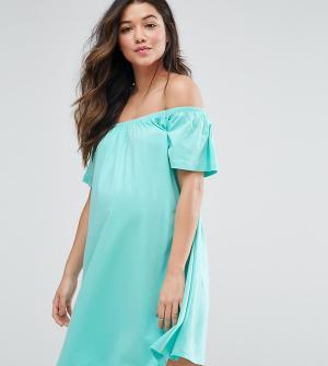 ASOS Maternity Платье мини для беременных с открытыми плечами. Цвет: зеленый